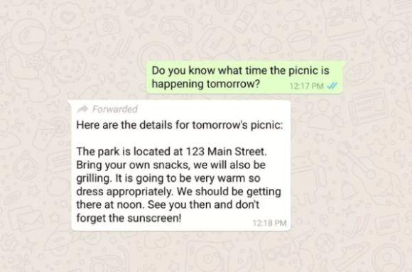 WhatsApp iletilen mesaj