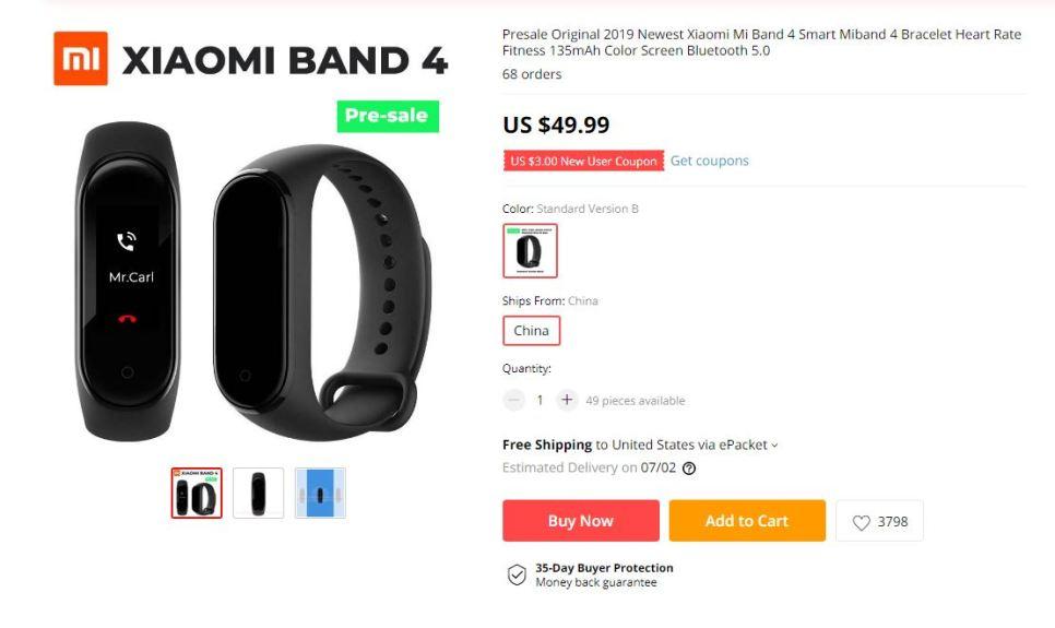 Xiaomi Mi Band 4 fiyatı