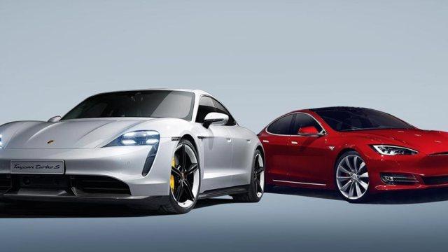 Tesla Model S Porsche Taycan yarışı 2