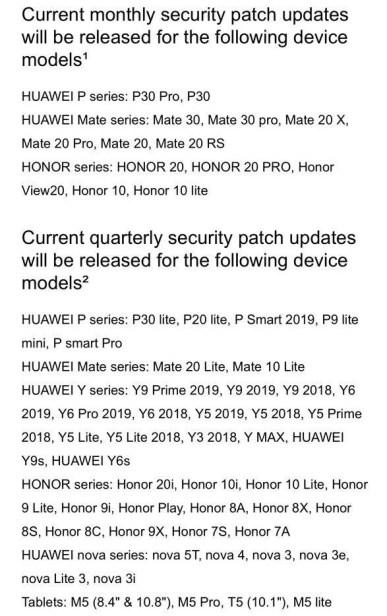 Huawei Mate 30 EMUI güvenlik güncellemesi