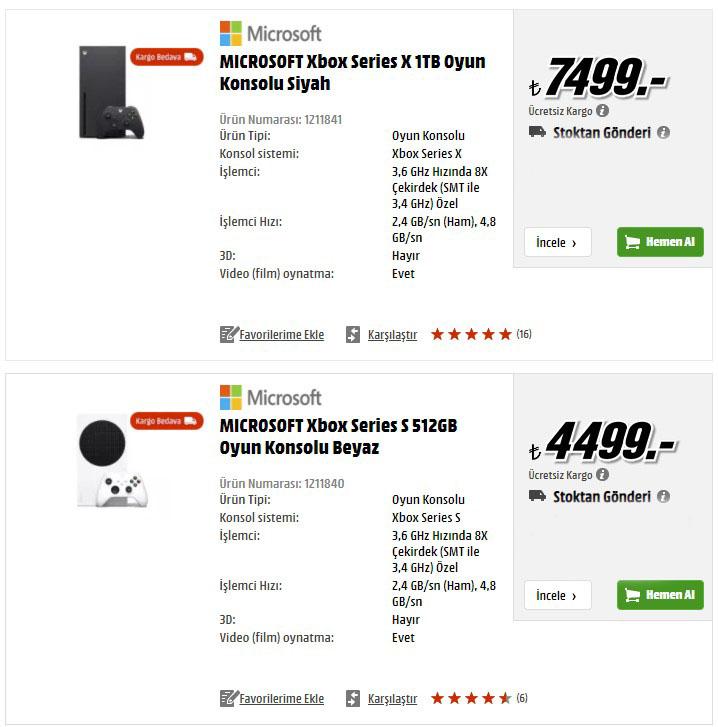Xbox Series X ve S fiyatı