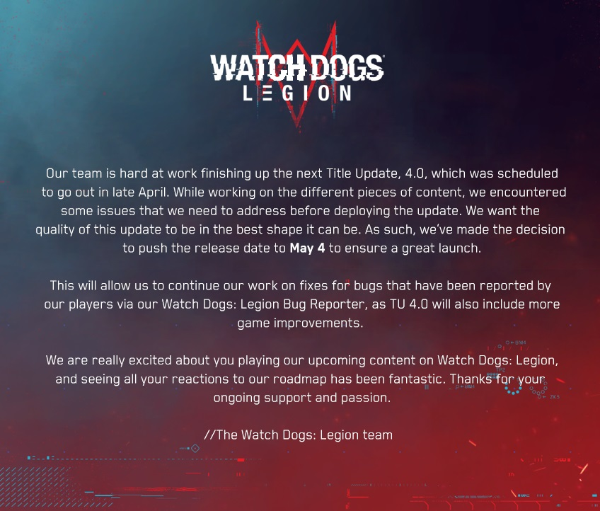 Watch Dogs Legion 4.0 güncellemesi
