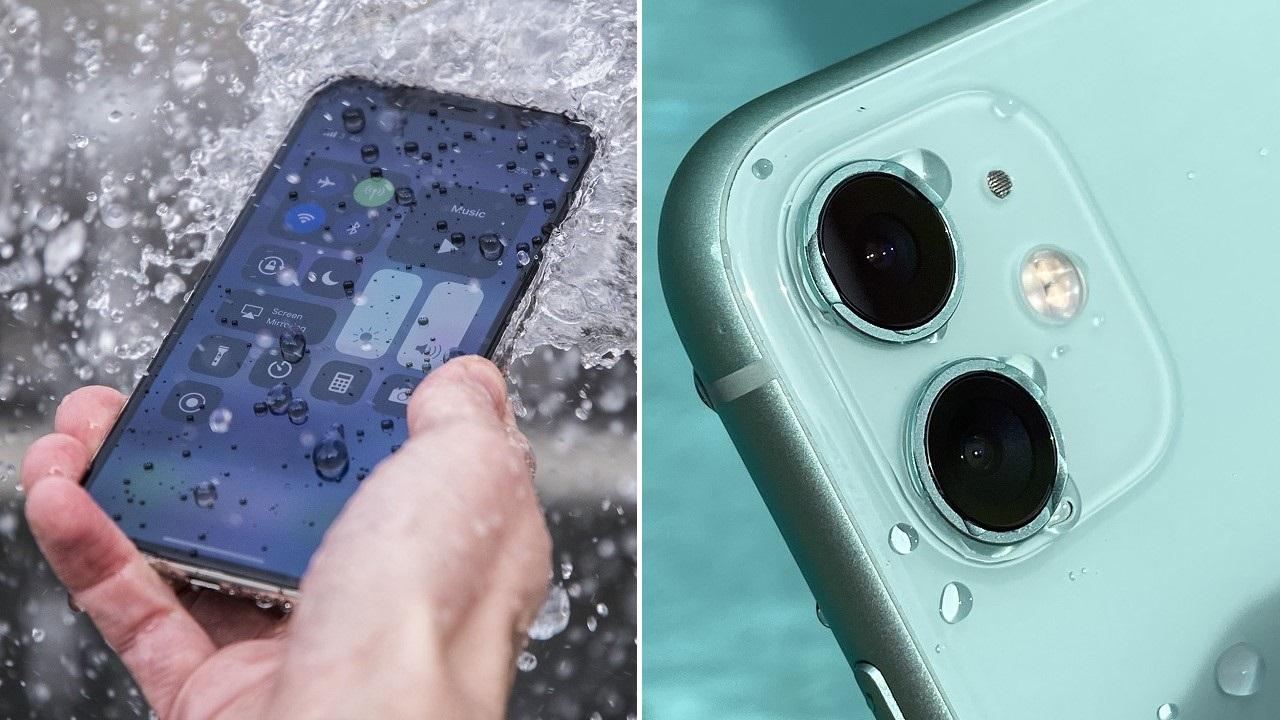 su altında kalan iPhone
