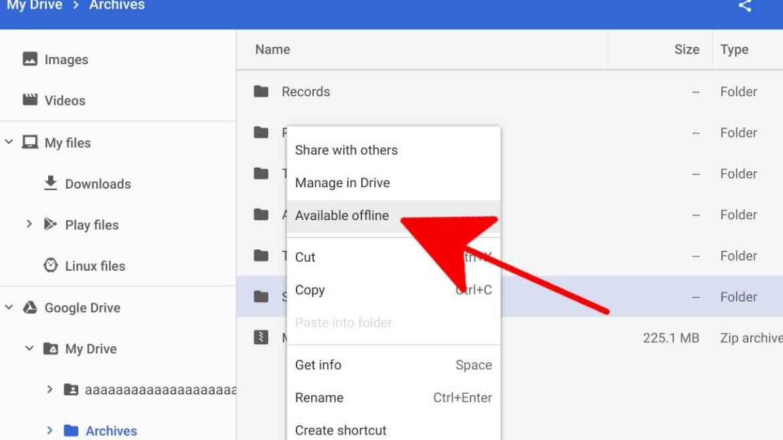 Google Drive çevrimdışı erişim özelliği aktif edildi.