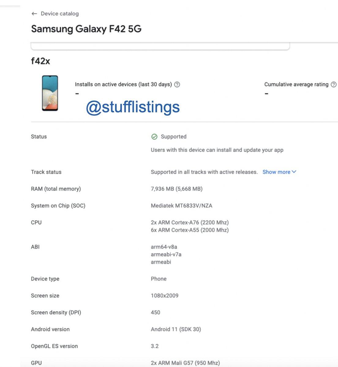 Samsung Galaxy F42 5G özellikleri sızdırıldı.