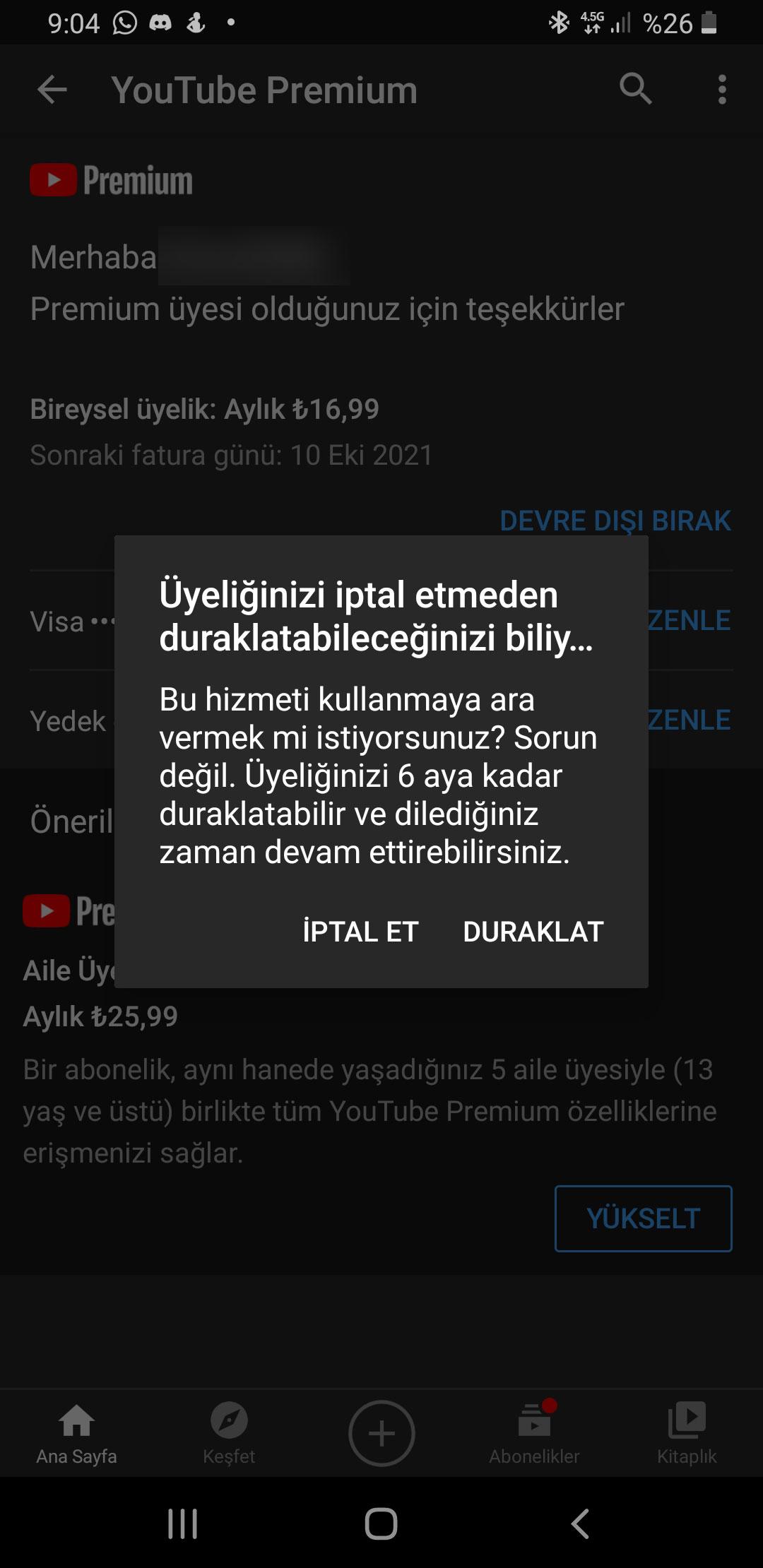 youtube premium üyelik iptal etme