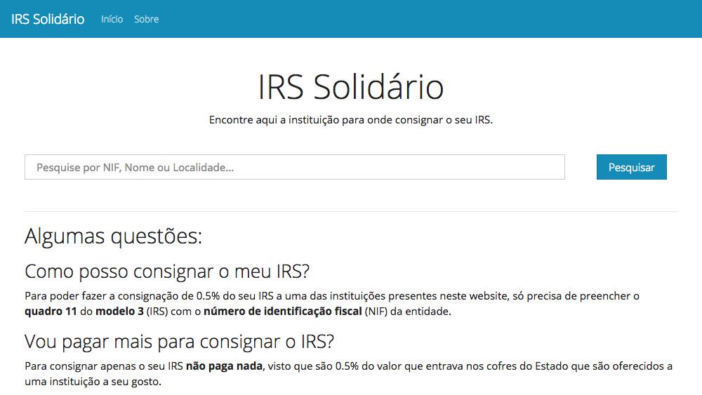IRS Solidário finanças