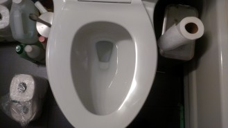 """He put a square something on my brandnew toilet and worked on it."""