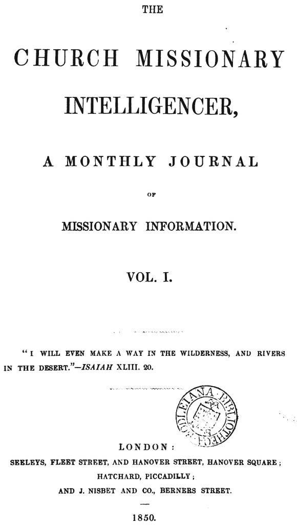 ചർച്ച് മിഷനറി ഇന്റലിജൻസർ - The Church_Missionary Intelligencer