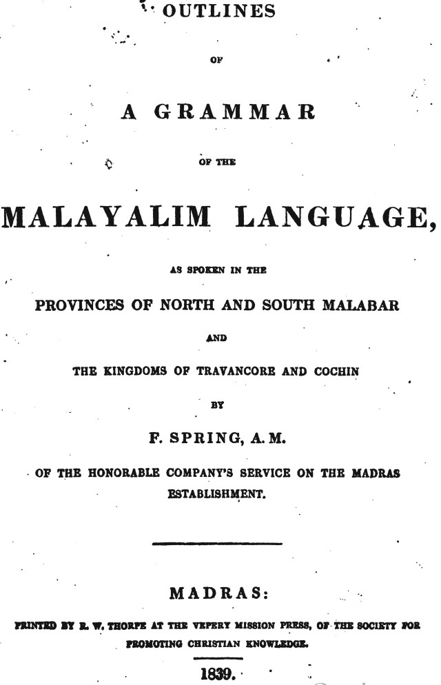 Outlines Of A Grammar Of The Malayalim Language 1839
