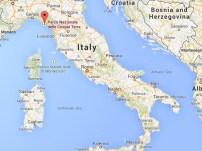 Cinque Terre on the Italian map