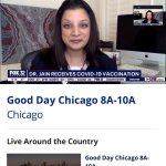 FOX32: Illinois positivity rates decline and Dr. Jain gets her COVID19 shot!