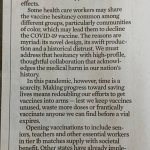 Chicago Tribune:Letters: We should expand the groups of people being vaccinated in Illinois