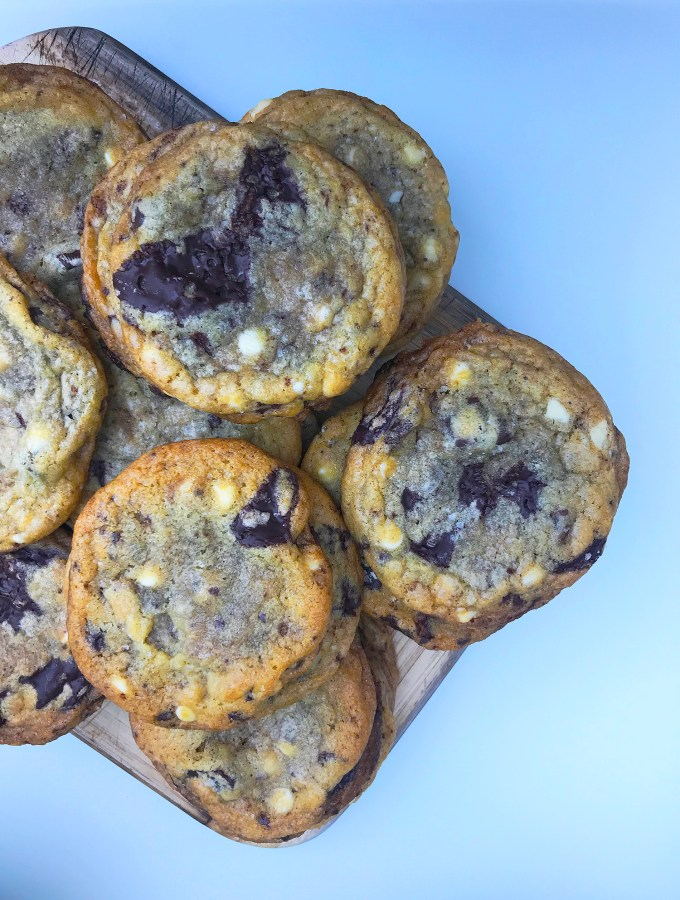 Triple Chocolate Chip Cookies with Sea Salt