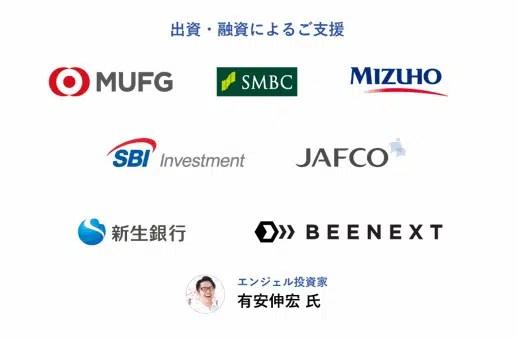 多くの金融機関からの出資を受けている企業