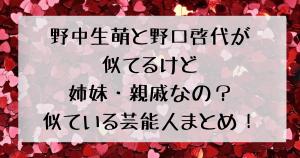 野中生萌と野口啓代が似てるけど姉妹・親戚なの?似ている芸能人まとめ!