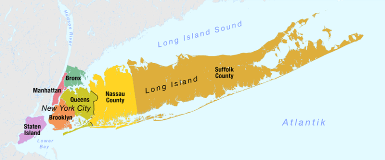 Map of Long Island Facts about New York