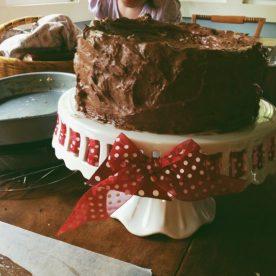 Chocolate pound cake with chocolate icing! :)