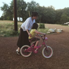 Bekah learned to ride her bike!