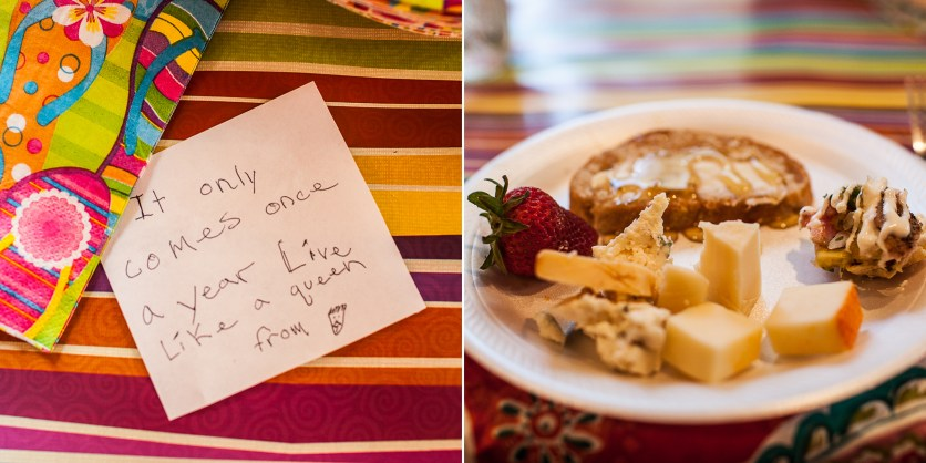 Abel's birthday note and my delicious dinner!