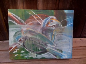 """""""TWO PIGEONS"""" Painting in Progress"""