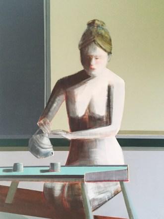 "Artist Shilo Ratner, ""Mindfulness of Tea"", 48"" x 36"", Oil Paint on Panel"