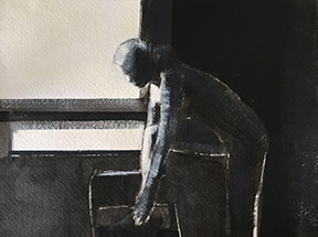 """Artist: Shilo Ratner, By Window, """"9x12"""", Acrylic/Ink on paper"""