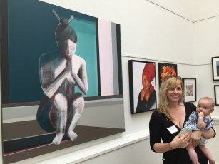 "Artist Shilo Ratner in front of painting ""Essence""."