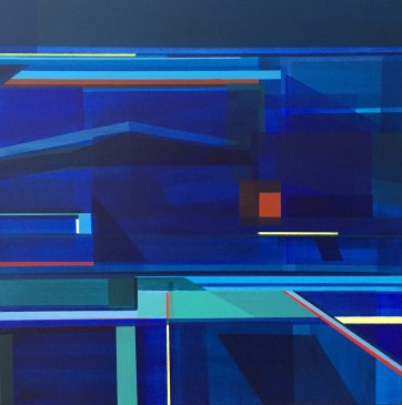 Ocean, Abstract Landscape, Geometric Abstract Painting, Abstraction, Blue Ocean, Littoral