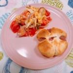 トマトと卵のセロリ塩炒め