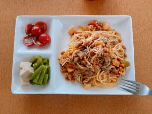 カクテキとしらす、納豆のスパゲッティ
