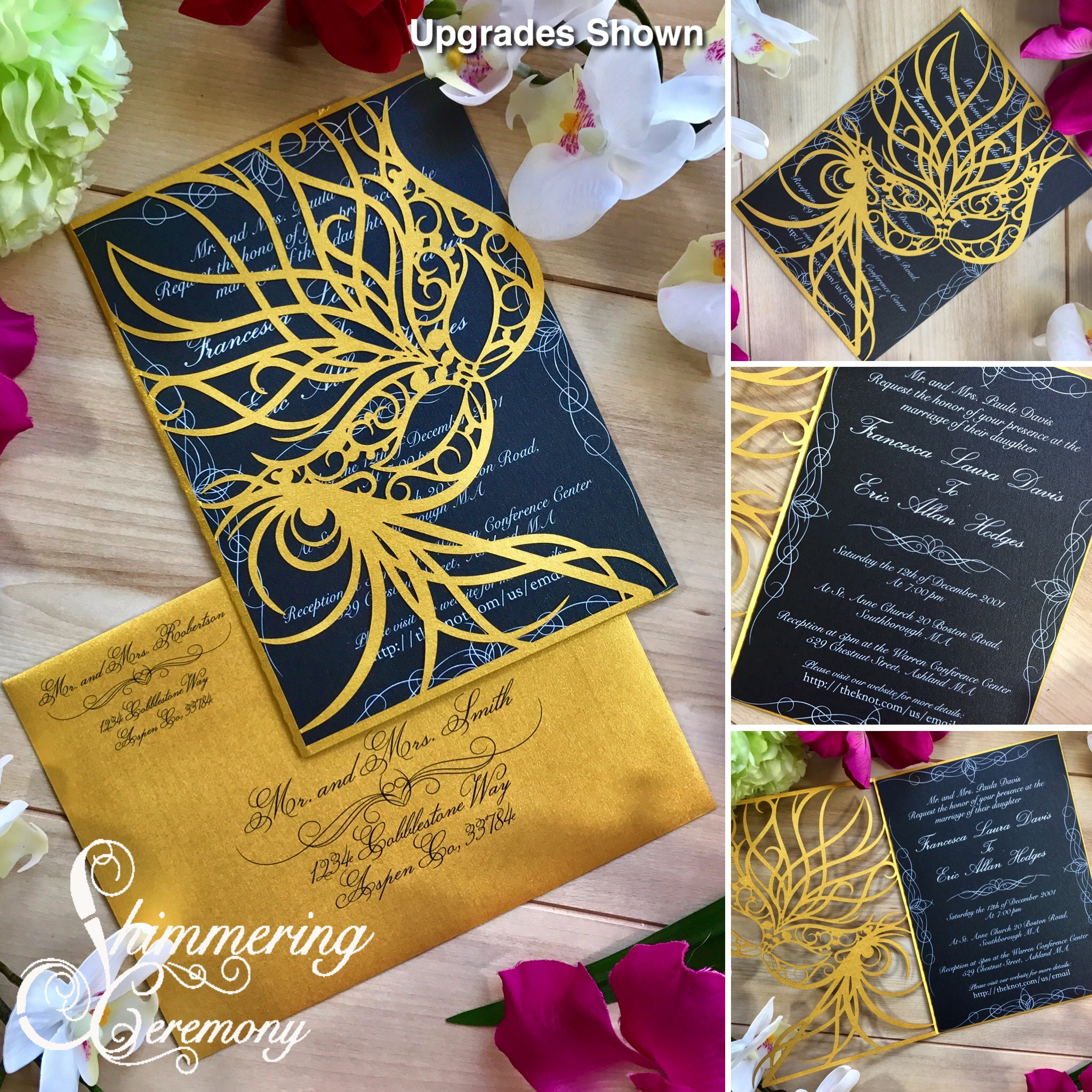 Mardi Gras Laser Cut wedding Invitation