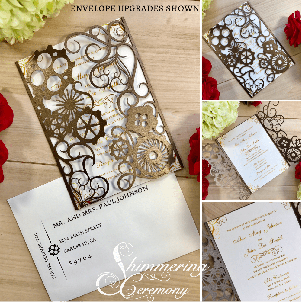 final cut pro wedding templates - steampunk gears gate invitation shimmering ceremony