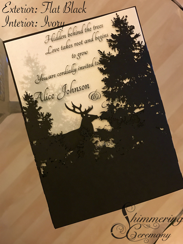 Deer In Forest Laser Cut Invitation Shimmering Ceremony