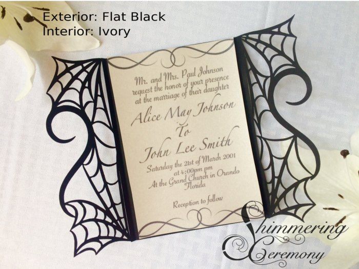 gothic spider web halloween wedding invitation laser cut gatefold spooky love heart party