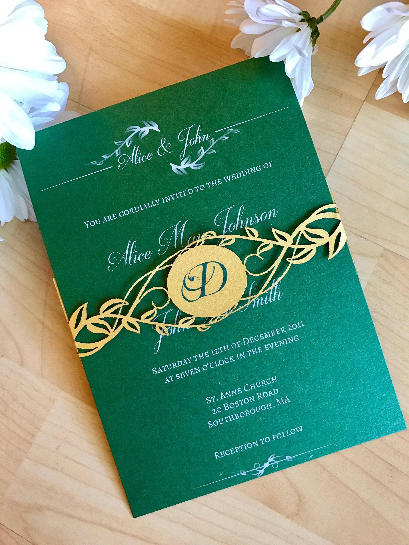 Greenery Laser Cut Belly Band Wedding Invitation Shimmering Ceremony