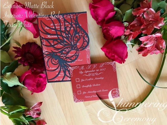 Mardi gras mask party invitation laser cut masquerade ball wedding invitation and RSVP