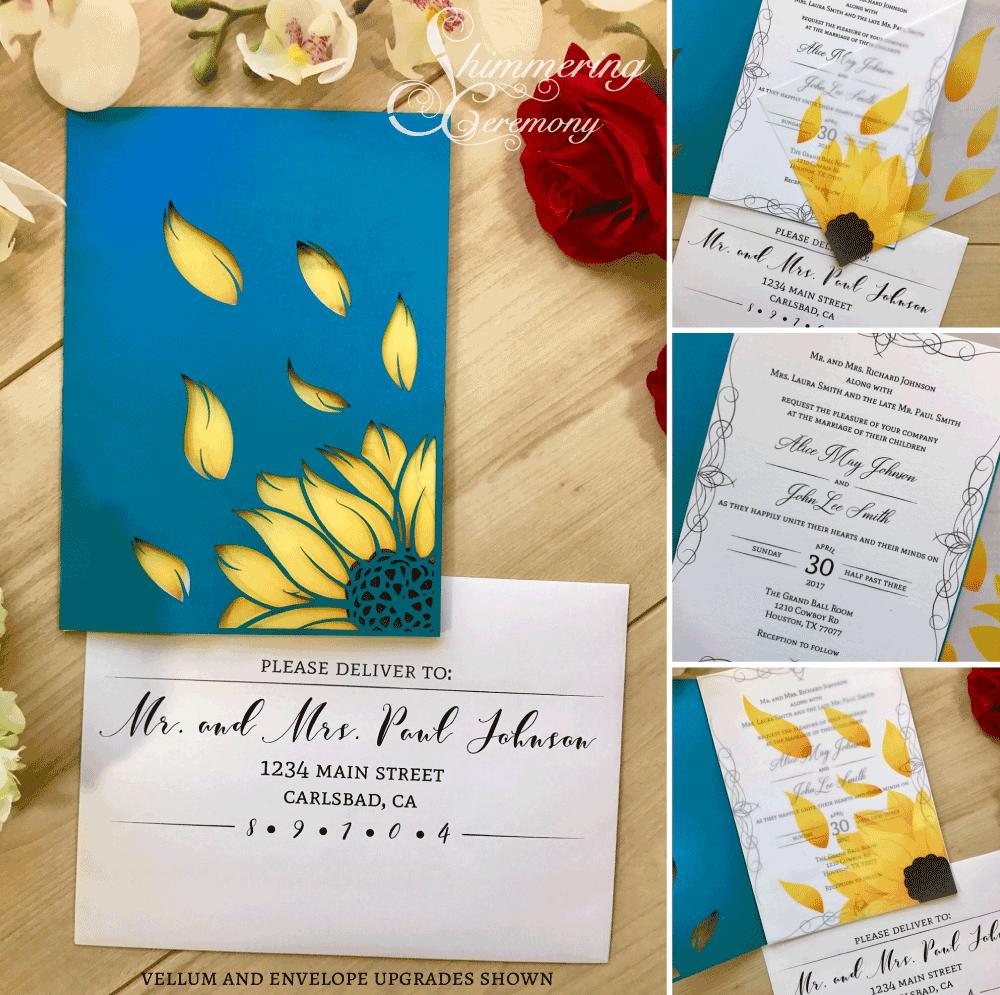 sunflower laser cut invitation shimmering ceremony