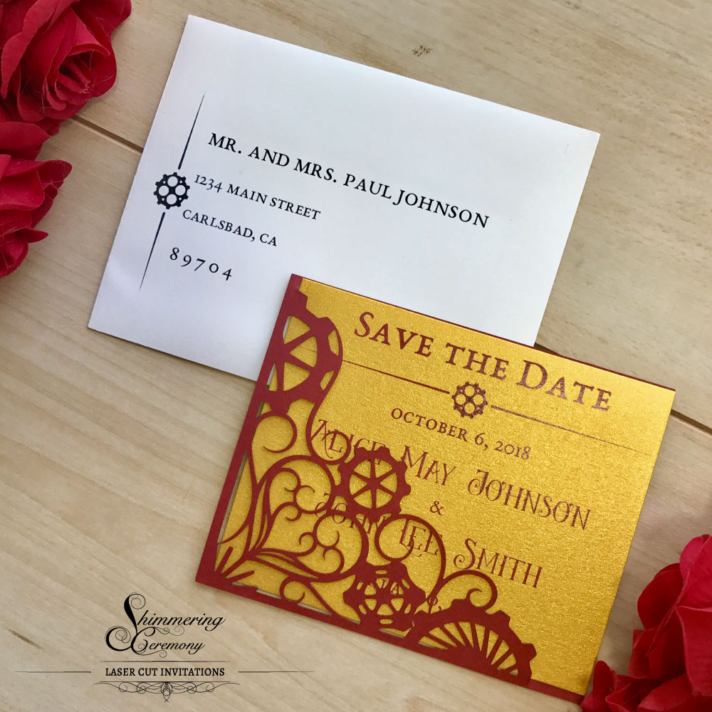 Steampunk Gears Save The Date Shimmering Ceremony