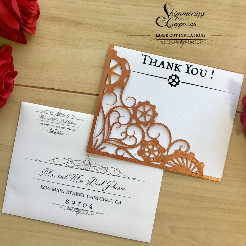 Steampunk Gears Thank You Cards Shimmering Ceremony
