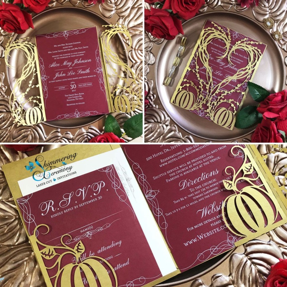 Gothic Wedding Invitations pumpkin heart