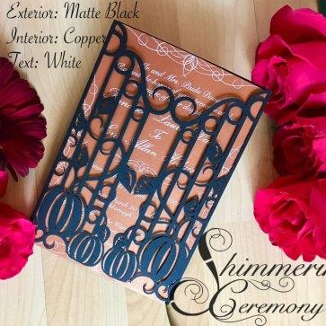 Gothic Wedding invitations pumpkin iron gate