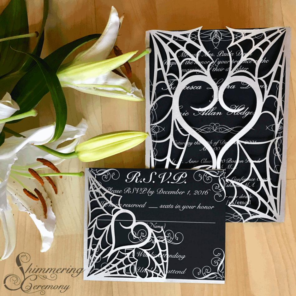 Gothic wedding invitations spider gate