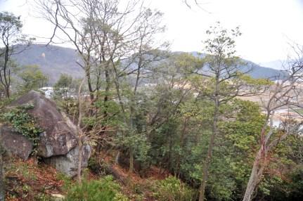 穴の場所は瓶割山城跡の真向い