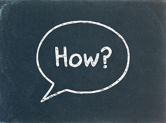 """HOW?"" Speech Bubble on Blackboard (user manual guide questions)"