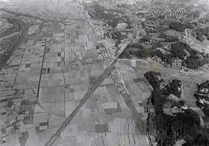 1968(昭和37)年の新横浜(横浜市都市計画局が1999年に発行した「新横浜都心整備基本構想」のパンフレットより)