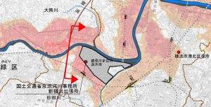 鶴見川が氾濫した場合の浸水深さの想定、色が濃いエリアがより深くなる(公表資料より)※クリックで拡大