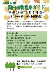 岸根公園で10月7日(金)に行われる「園内植物観察ガイド」のチラシ(同公園Webサイトより)