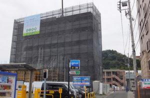 ハマツーウェイが建設する3つのプロジェクトでは、「6階建て30戸共同住宅・店舗」が完成に近づきつつある