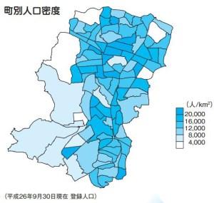 港北区内の町別人口密度